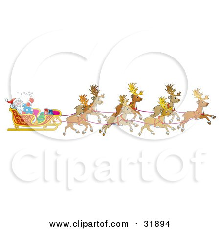 Clipart Illustration of Santa Claus Holding Onto A Toy Sack And Waving While Being Transported By His Team Of Reindeer by Alex Bannykh