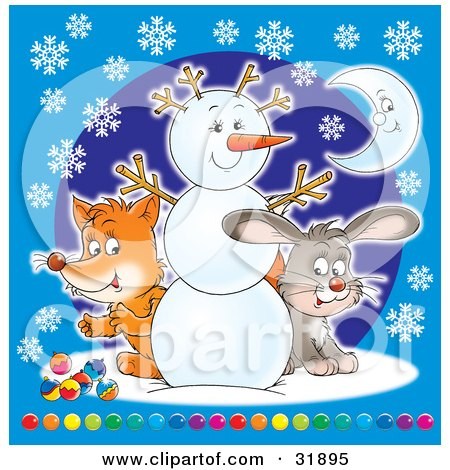 Clipart Illustration of a Cute Fox And Hare Peeking Around A Friendly Snowman, Over A Blue Background With Snowflakes And A Crescent Moon And Colorful Baubles by Alex Bannykh