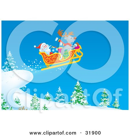 Clipart Illustration of Santa Claus And A Reindeer Having Fun While Catching Air In The Sleigh And Riding Off A Hill by Alex Bannykh