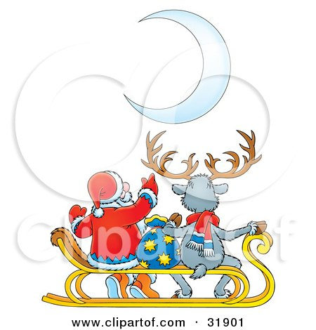 Clipart Illustration of Santa Claus Pointing At A Crescent Moon While Sitting With A Toy Sack And A Reindeer by Alex Bannykh