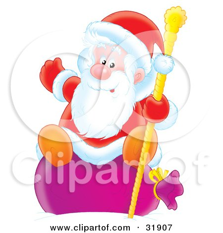 Clipart Illustration of St Nick Waving While Sitting On His Toy Sack And Holding Onto A Golden Staff by Alex Bannykh