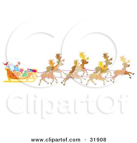 Clipart Illustration of a Team Of Reindeer Flying Santa Claus In His Sleigh by Alex Bannykh