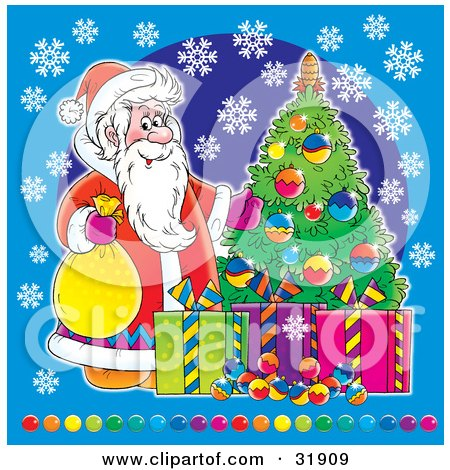 Clipart Illustration of St Nick With Christmas Presents And A Tree, On A Blue Background With Snowflakes And Colorful Balls Along The Bottom by Alex Bannykh