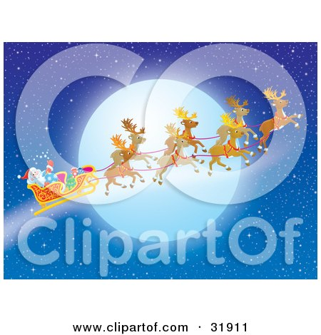 Clipart Illustration of Santa Claus Waving In His Sleigh While Flying With His Reindeer In Front Of A Full Moon by Alex Bannykh
