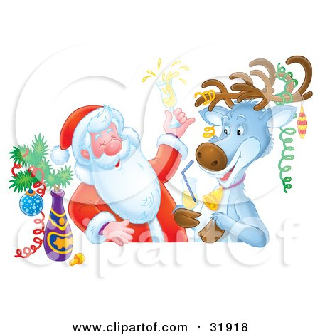 Clipart Illustration of St Nick And A Reindeer Getting Drunk And Celebrating At A Bar by Alex Bannykh