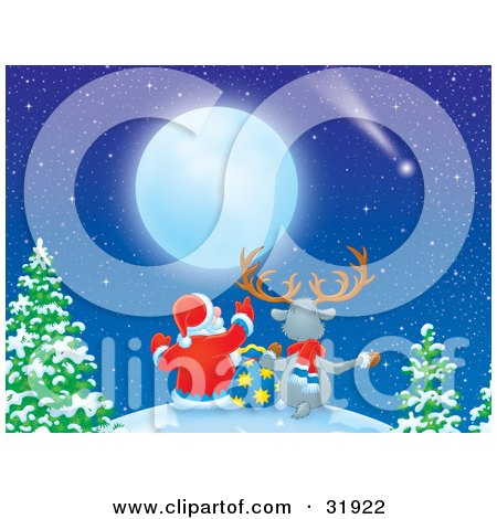Clipart Illustration of Santa Claus And A Reindeer Seated With A Toy Sack On Top Of A Hill Near Trees, Star Gazing And Looking At A Shooting Star And Full Moon by Alex Bannykh