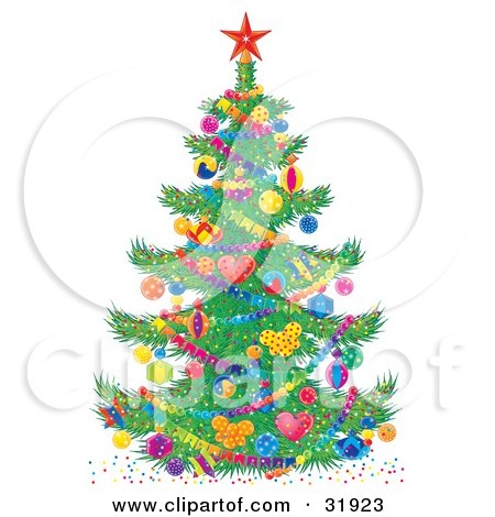 Colorful Decorated Christmas Tree With A Red Star On Top, Baubles And Garland Posters, Art Prints