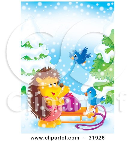 Clipart Illustration of a Hedgehog Standing By A Toy Sack On A Sled, Talking To Two Bluebirds On A Snowy Day by Alex Bannykh
