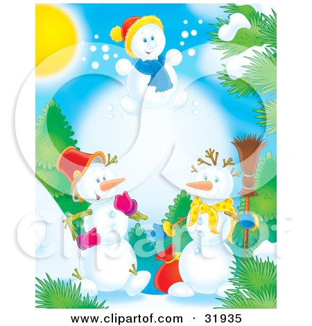Clipart Illustration of a Leaping Snow Child Above To Snowmen Outdoors Near Trees On A Sunny Day by Alex Bannykh