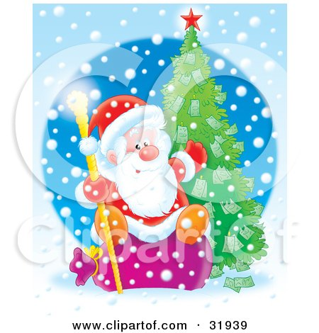 Clipart Illustration of St Nick Sitting On A Sack, Holding A Golden Staff And Gesturing To A Christmas Tree Growing Money On It On A Snowing Blue Background by Alex Bannykh