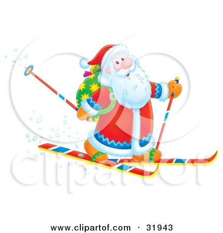 Clipart Illustration of Santa Smiling While Skiing With Poles And A Toy Sack On His Back by Alex Bannykh