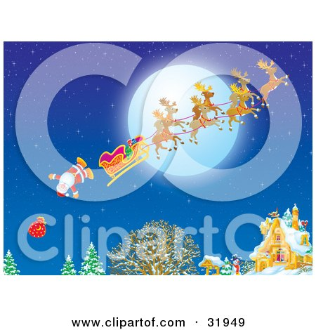 Clipart Illustration of Father Christmas And His Toy Sack Falling Out Of His Sleigh Near A Home On Christmas Eve With A Full Moon In The Sky by Alex Bannykh