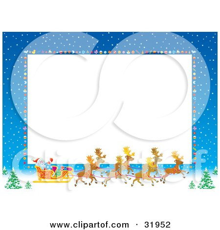 Clipart Illustration of a Horizontal White Stationery Space Bordered By Blue Skies With Snow, Baubles And Santa, His Sleigh And Reindeer by Alex Bannykh