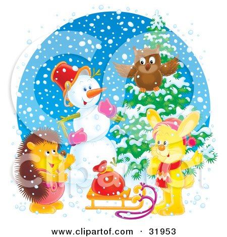 Clipart Illustration of an Owl, Snowman, Rabbit And Hedgehog Gathered Near A Flocked Tree And Toy Sack On A Sled On A Snowy Day by Alex Bannykh