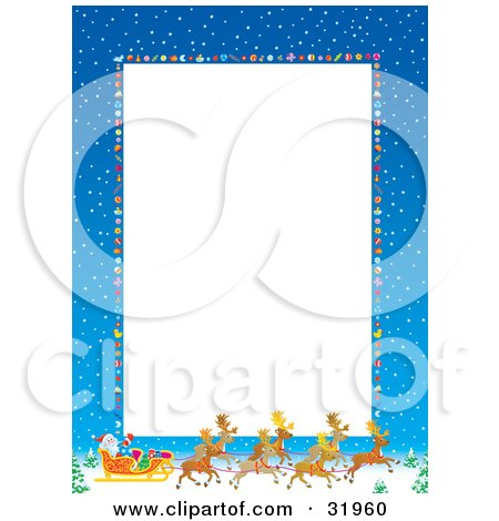 Clipart Illustration of a Vertical White Stationery Space Bordered By Blue Skies With Snow, Baubles And Santa, His Sleigh And Reindeer by Alex Bannykh