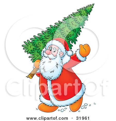 Clipart Illustration of Kris Kringle Waving While Carrying A Fresh Cut Christmas Tree Over His Shoulder by Alex Bannykh