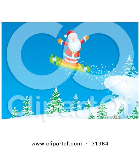 Clipart Illustration of Father Christmas Holding His Arms Out And Maintaining Balance While Snowboarding Off A Cliff by Alex Bannykh