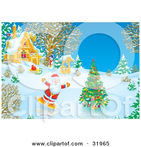 Royalty-Free (RF) Santa Ice Skating Clipart, Illustrations ...