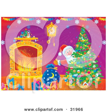 Clipart Illustration of Father Christmas Looking Around A Christmas Tree Near A Wall Clock, Fireplace And Gifts In A Home by Alex Bannykh