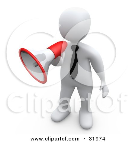 Clipart Illustration of a White Businessman Speaking Through A Red And White Megaphone, Symbolizing Attention And Announcements by 3poD