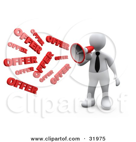 Clipart Illustration of a White Person Shouting OFFER Through A Megaphone, Symbolizing Job Opportunities And Sales by 3poD