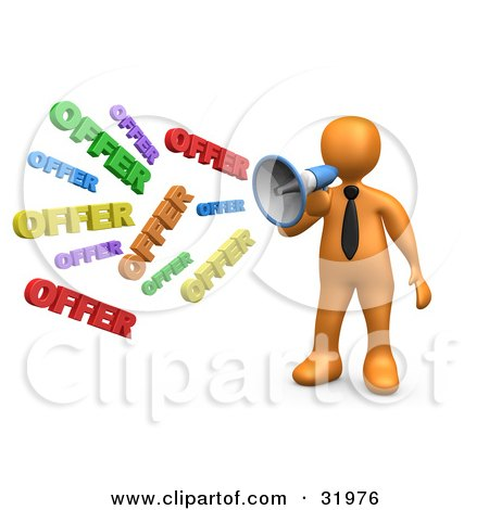 Clipart Illustration of a Orange Person Shouting OFFER Through A Megaphone, Symbolizing Job Opportunities And Sales by 3poD