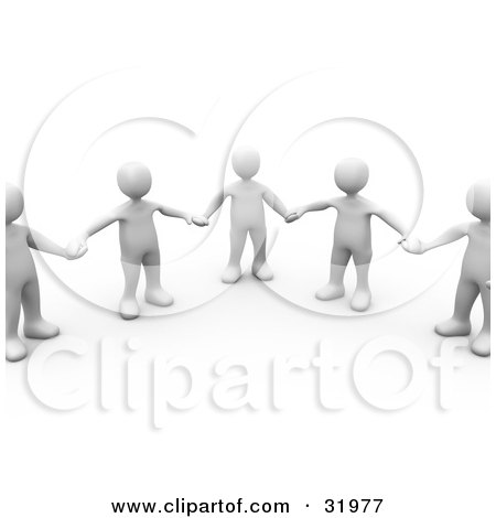 Clipart Illustration of a Group Of Five White People In Part Of A Circle, Holding Hands, On A White Background With Shadows by 3poD