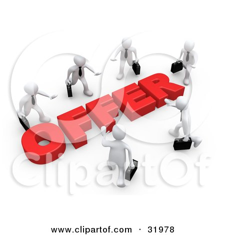 Clipart Illustration of Competitive White Businessmen Carrying Briefcases, Walking In Towards A Red Offer, Symbolizing Job Searching And Competition by 3poD