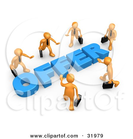 Clipart Illustration of Competitive Orange Businessmen Carrying Briefcases, Walking In Towards A Blue Offer, Symbolizing Job Searching And Competition by 3poD