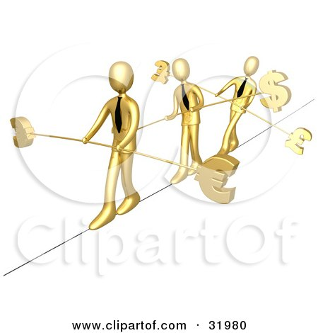 Clipart Illustration of Three Gold Business People Walking Across A Tightrope With Bars And Euro, Pounds And Dollars At The Ends by 3poD