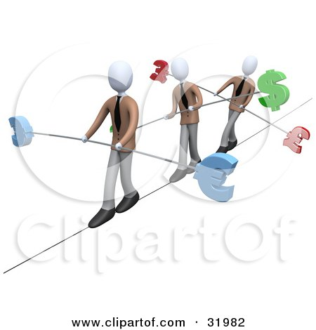 Clipart Illustration of Three White Business People Walking Across A Tightrope With Bars And Euro, Pounds And Dollars At The Ends by 3poD