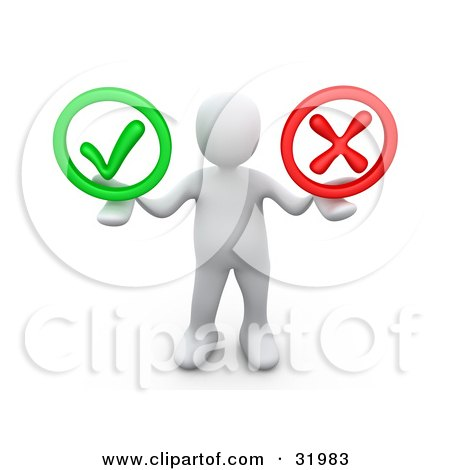 Clipart Illustration of a White Person Holding His Arms Out With A Green Check Mark And A Red X In His Hands, Symbolizing Approval And Denial by 3poD