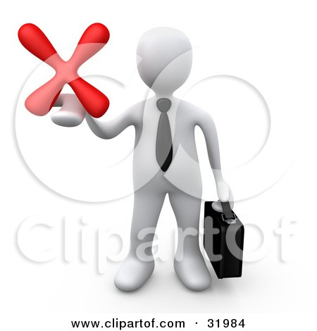 Clipart Illustration of a White Businessman Carrying A Briefcase And Holding Out A Red X Mark In His Hand, Symbolizing Denial And Failure by 3poD