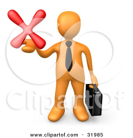 Clipart Illustration of an Orange Businessman Carrying A Briefcase And Holding Out A Red X Mark In His Hand, Symbolizing Denial And Failure by 3poD