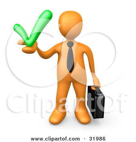 Clipart Illustration of an Orange Business Man Carrying A Briefcase And Holding A Green Check Mark, Symbolizing Solutions And Approval by 3poD