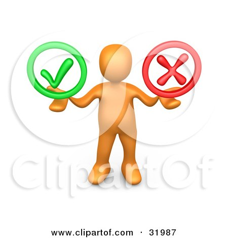 Clipart Illustration of an Orange Person Holding His Arms Out With A Green Check Mark And A Red X In His Hands, Symbolizing Approval And Denial by 3poD
