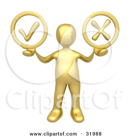 Clipart Illustration of a Gold Person Holding His Arms Out With A Green Check Mark And A Red X In His Hands, Symbolizing Approval And Denial by 3poD