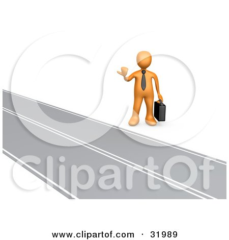 Clipart Illustration of an Orange Businessman Carrying A Briefcase, Hitchhiking Roadside, Symbolizing The Road To Success by 3poD