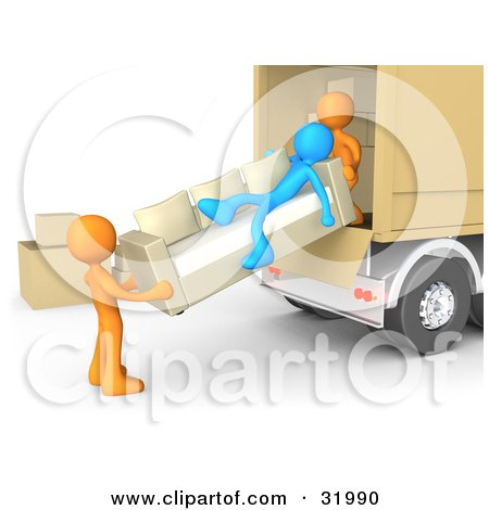 Clipart Illustration of a Blue Person Slacking On A Couch While Two Orange Workers Load A Sofa Into A Moving Truck, Symbolizing Laziness And Poor Teamwork Posters, Art Prints