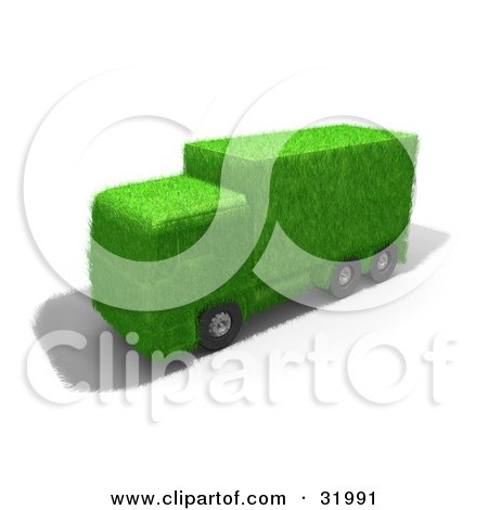 Clipart Illustration of a Big Rig Truck Made Of Green Grass, Symbolizing Eco Friendly Transportation by 3poD