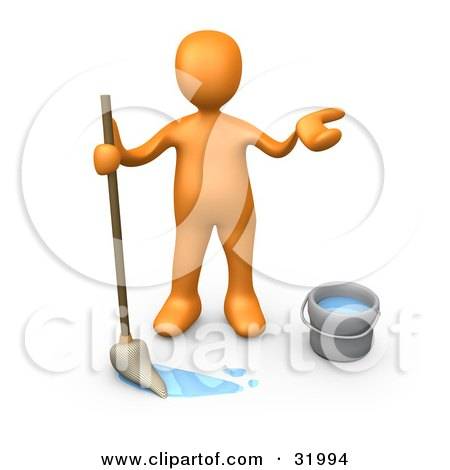 Clipart Illustration of a Miserable Orange Person Mopping A Dirty Floor And Shrugging by 3poD