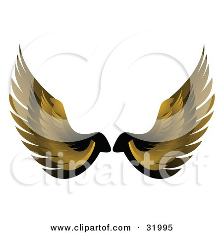 Clipart Illustration of a Pair Of Yellow Bird Or Angel Wings, Symbolizing Faith Or Freedom, On A White Background by elaineitalia