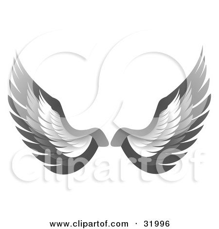 Clipart Illustration of a Pair Of Gray Bird Or Angel Wings, Symbolizing Faith Or Freedom, On A White Background by elaineitalia