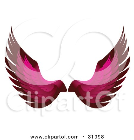 Clipart Illustration of a Pair Of Pink Bird Or Angel Wings, Symbolizing Faith Or Freedom, On A White Background by elaineitalia
