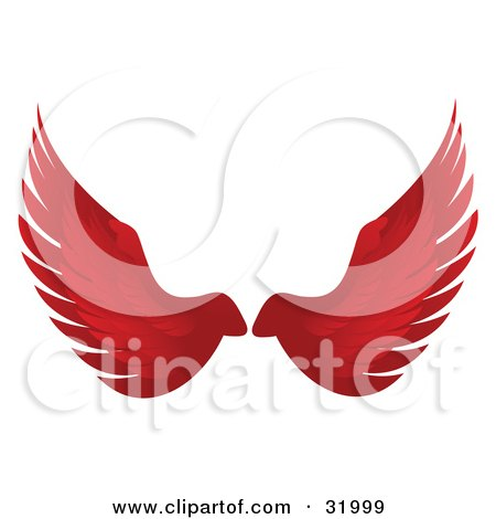 Clipart Illustration of a Pair Of Red Bird Or Angel Wings, Symbolizing Faith Or Freedom, On A White Background by elaineitalia