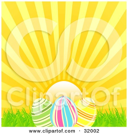 Clipart Illustration of a Sunny Sky Behind Three Striped Easter Eggs In Grass by elaineitalia