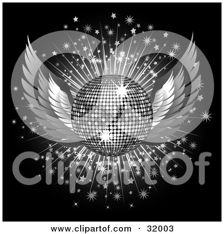 Clipart Illustration of a Silver Winged Disco Ball On A Bursting Sparkly Background, Over Black by elaineitalia