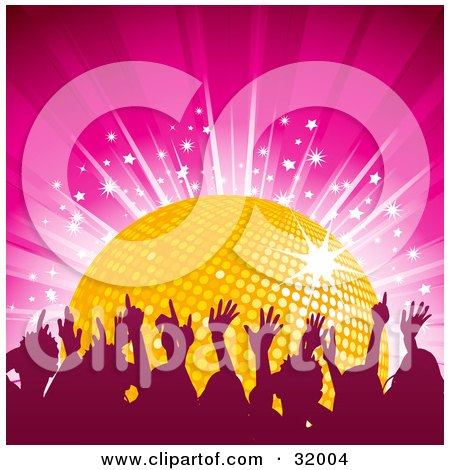 Clipart Illustration of a Silhouetted Audience Dancing With Their Arms In The Air, In Front Of A Yellow Disco Ball On A Pink Background With A Burst Of Stars by elaineitalia