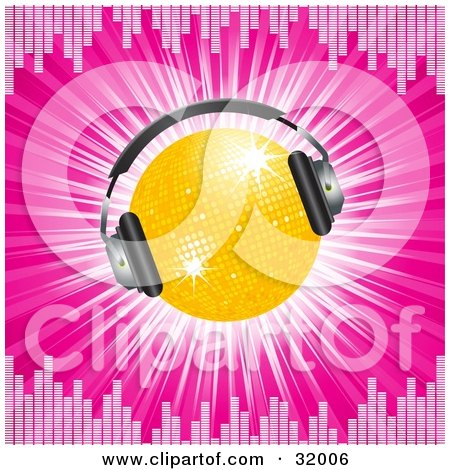 Clipart Illustration of a Yellow Disco Ball Wearing Headphones, On A Bursting Pink Background Bordered By Equalizer Lines by elaineitalia