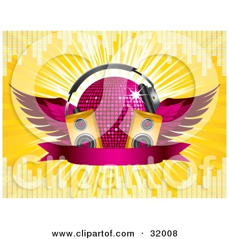Clipart Illustration of a Pink Winged Disco Ball Wearing Headphones, Behind Two Yellow Speakers And A Blank Banner, On A Bursting Yellow Background With Equalizer Bars by elaineitalia